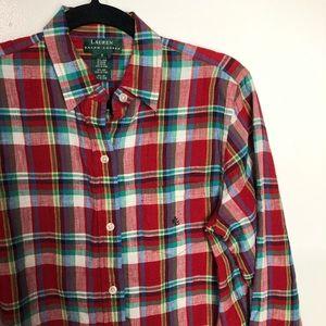 Ralph Lauren Plaid Linen Shirt 6 EUC